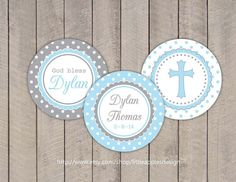 Baptism Cupcake Toppers / Boy Baptism by LittleApplesDesign, $6.00