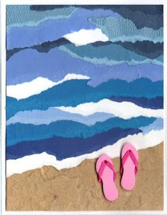 Torn paper ocean and beach. A fun summer art project for kids!