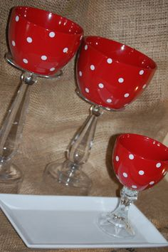 Set of 3 red and white polka dot party by TheSouthernWillow, $42.00