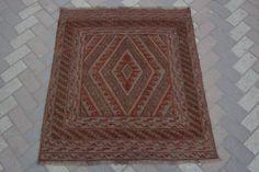 Handmade Afghan Tribal Vintage Mushvani Kilim Rug Square 3'7 x 4' Antique Kilim #Handmade #Tribal