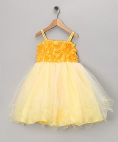 Take a look at this Yellow Floral Tulle Dress - Toddler & Girls by Blow-Out on #zulily today!