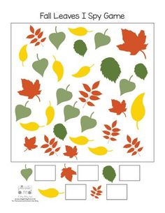 Free Printable Fall Leaves I Spy Game Page 2 Spy Games For Kids, I Spy Games, Fall Games, Spy Kids, Fall Preschool Activities, Preschool Writing, Preschool Crafts, Learning Activities, Halloween Crafts For Toddlers