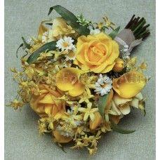 Maisy/ silk yellow field posy/ daisies, lillies, roses