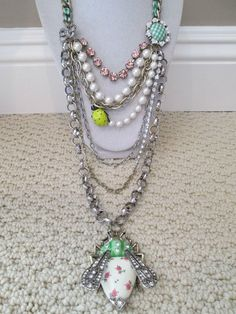 NWT Auth Betsey Johnson Vintage Bug Large Multi-Row Chain Statement Necklace #BetseyJohnson #Statement