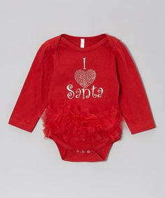 Take a look at this Red 'I Heart Santa' Ruffle Bodysuit - Infant on zulily today!