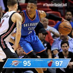 Westbrook and Durant combine for 50 but the Thunder fall to the Heat in a close one 12/3/2015