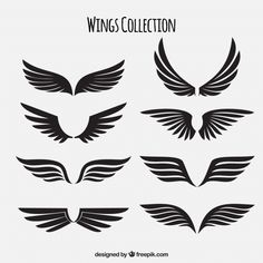Pack of black wings Free Vector V Logo Design, Design Plat, V Letter Tattoo, Valentines Day Doodles, Adobe Illustrator, Hawk Wings, Angel Wings Drawing, Wings Sketch, Tribal Wolf Tattoo