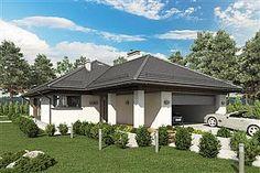 Projekt domu Miriam III 118,1 m2 - koszt budowy - EXTRADOM One Floor House Plans, Narrow Lot House Plans, Atrium, Planer, Bungalow, Gazebo, Outdoor Structures, House Design, Flooring