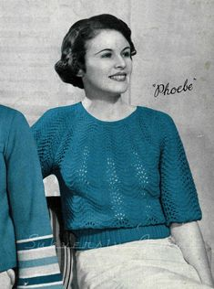 Sweet Phoebe, 1930s Feather and Fan Jumper - Vintage Knitting Pattern PDF (323)