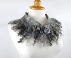 Felted collar felt necklace felted wool scarf grey by AnnaWegg, £28.99