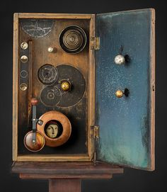 Mixed Media assemblage and collage art by Chicago artist Kass Copeland. Handmade boxes created from discarded, recycled furniture inspired by Joseph Cornell. Collages, Collage Art, Recycled Furniture, Recycled Art, Repurposed, Shadow Box Art, Steampunk, Chicago Artists, Found Object Art