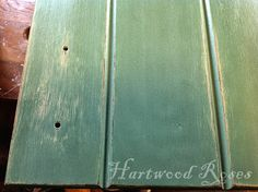 ASCP 4 parts Provence to 1 part Olive over base coat of Country Grey.  Then wet distressed.