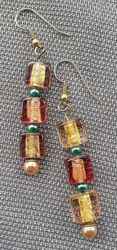Green and gold glass bead earrings by Fractallicious on Etsy