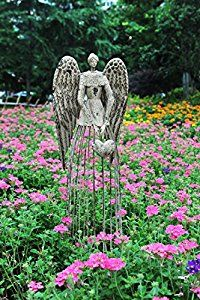"""Amazon.com : Y&K Decor Antiqued Metal Garden Angel statues, 32"""" Height Excellent for Christmas Gift! : Patio, Lawn & Garden"""