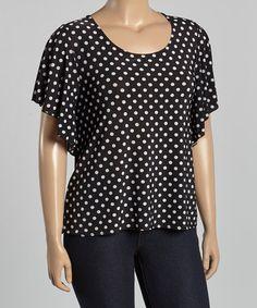 Love this Black & White Polka Dot Flutter-Sleeve Top - Plus on #zulily! #zulilyfinds