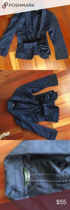 J crew navy tie front crop jacket J crew navy tie front crop jacket nwot J. Crew Jackets & Coats