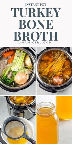 Instant Pot Turkey Bone Broth (Rich Turkey Stock) Instant Pot turkey bone broth made from leftovers is full of collagen and nutrients. Ideal for soups or for sipping. Works with chicken bones too! Turkey Broth, Turkey Stock, Turkey Recipes, Soup Recipes, Chicken Recipes, Paleo Recipes, Delicious Recipes, Bone Soup, Bone Broth
