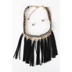 Suede Tassels Threaded Chain Necklace (£18) ❤ liked on Polyvore featuring jewelry, necklaces, pendant necklace, chain pendants, pendant chain necklace, tassel jewelry and pendant jewelry