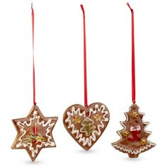 Villeroy  Boch Multi Nostalgic Ornament Gingerbread 3-Piece Set ($25) ❤ liked on Polyvore featuring home, home decor, holiday decorations, multi, holiday ornament, gingerbread christmas tree ornaments, xmas tree ornaments, gingerbread cookie ornaments and holiday decor
