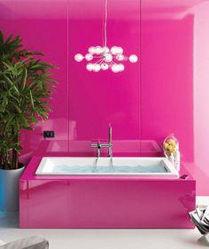 The prettiest pink bathroom design ideas Pink Bathrooms Designs, Dream Bathrooms, Beautiful Bathrooms, Modern Bathrooms, Home Design, Interior Design, Design Ideas, Feminine Bathroom, Pink Baths