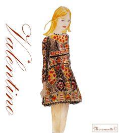 Valentino's design fashion plate. Ilustraciones Moramontti/Moramontti's Illustrations