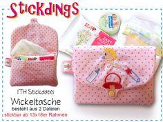 Tolle In the hoop Stickdatei zum erstellen einer Wickeltasche. Great ITH embroidery design to create your own diaper bag
