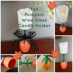This tutorial shows you how to upcycle a wine glass into a pumpkin candle holder. This candle holder is perfect for fall suppers, Thanks-giving dinners and hostess gifts.