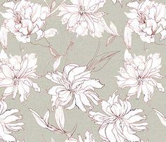 peonies drawing canvas texture fabric by katarina on Spoonflower - custom fabric