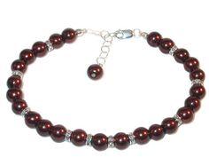 CHOCOLATE Brown Pearl Bracelet Sterling Silver Beaded Faux