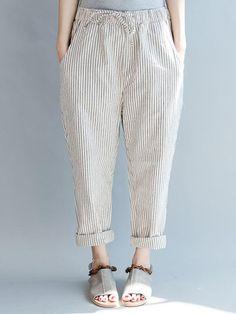 Summer Fashion Unisex Casual Stripe Pants Leisure Long Pants Plus size Linen Pants Women, Pants For Women, Clothes For Women, Culottes, Stripes Fashion, Cotton Pants, Wide Leg Pants, Long Pants, Fashion Pants