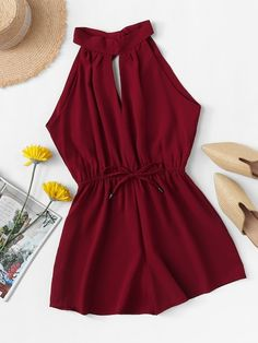 ROMWE Drawstring Waist Knot Back Jumpsuit 2019 Burgundy Wide Leg Summer Mid Waist Womens Romper Sleeveless Sexy Romper Teenage Outfits, Teen Fashion Outfits, Look Fashion, Outfits For Teens, Fashion Clothes, Girl Outfits, Fashion Styles, Fashion Women, High Fashion