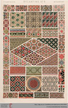Tafel XXX. Byzantine (1 of 4). Owen Jones, The Grammar of Ornament. Thanks to the University of Heidelberg digital library.