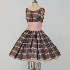 Pink And Gray Prom Dresses | Dress, Pink Gray Cotton Plaid Formal Cocktail Wedding Party Prom Dress ...