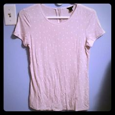 Polka dot Ann Taylor top Adorable pale pink and white polka-dot top by Ann Taylor. Size small, in excellent condition. Has zippered flattering back. Ann Taylor Tops Blouses