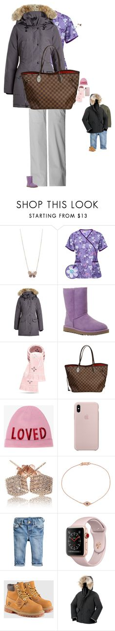 """Untitled #3873"" by stylebyfashionmerger ❤ liked on Polyvore featuring Canada Goose, UGG Australia, Louis Vuitton, Gucci, Loushelou, Ileana Makri, H&M, Burberry and Timberland"