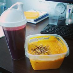 Butternut squash pottage sprinkled with flax and sesame seeds, plus beet/apple/carrot/ginger/cucumber juice.