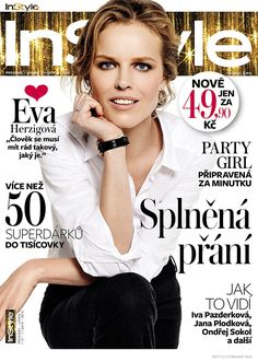 Appearing in the cover story of InStyle Czech's December-January 2015 issue, top model Eva Herzgiova shows off simple and refined fashion. Captured by Benedikt Renc with styling by Milena Zhuravlova and Karolina Otevrelova, the blonde beauty lights up the camera with her classic features, wearing button-up shirts, high-waisted pants and gingham prints. / Makeup by …