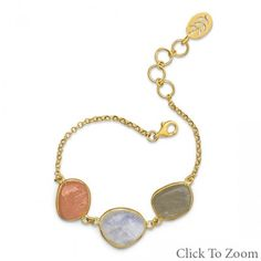 14 Karat Gold Plated Bracelet with Multicolor Rough Cut Moonstones from Bonita Moda Boutique