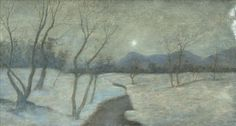 View Moonlit winter landscape Dusk Two By László Mednyánszky; oil on canvas laid on board; Access more artwork lots and estimated & realized auction prices on MutualArt. Winter Landscape, Dusk, Moonlight, Oil On Canvas, Artist, Artwork, Painting, Board, Photos