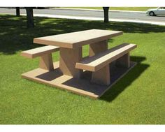 concrete table on pad