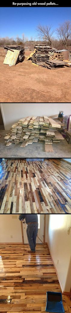 Repurposing wood pallets for cheep flooring and so cute!! I see a lot of man I mean woman hours here in disassembly. Maybe I could throw a pallet party! Have all my friends help :) What do you think?.