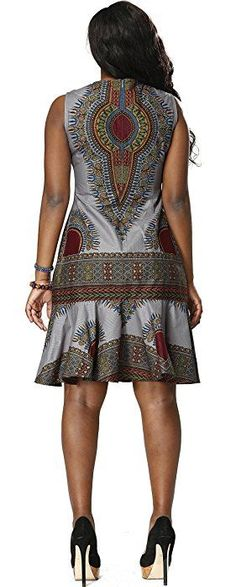 Shenbolen Women Traditional African Clothing Print Batik Cloth Dashiki Short Sleeve Dress (Large, Silver)
