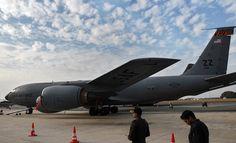 A US Air Force aircraft parked at the Yelahanka Air Force Station