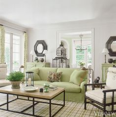 Botanical-Inspired California Home - Veranda Greens, whites and black for living room? Very fresh looking