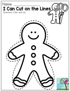 I Can Cut on the Lines- Great for a simple activity and also for as a decoration on a Christmas present!