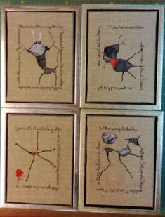 Pavements-design. fotos af revner og krajeleringer i vejbelægninger, fotograferet og stinglagt af fru blomgren. denne udgave broderet af fru wogensen