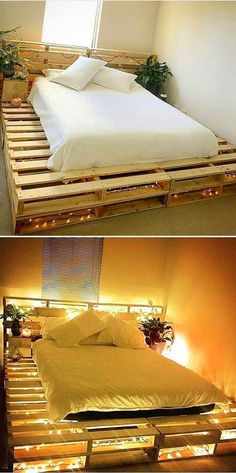 Wooden Pallet Furniture Pallet bed ideas - Pallet coffee table is immensely getting popularity day by day. Wood pallet projects provide the most stunning and innovative pallet coffee table that amaze the coffee lovers. Pallet Bed Frames, Diy Pallet Bed, Wooden Pallet Furniture, Diy Furniture, Bed Pallets, Bed Made Out Of Pallets, Pallet Bedroom Furniture, Pallet Diy Easy, Wooden Bed Frame Diy
