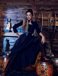 Alessandra Ambrosio wears fur coats, over-the-knee boots and cold weather hats Pose on Harper's Bazaar Kazakhstan Magazine December 2015 Photoshoot