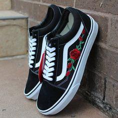 5b2cc935e36 Black Vans Old Skool Red Rose Custom Shoes Embroidery