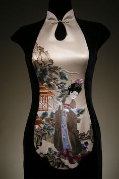 Ne Tiger, contemporary chinese dress, black velvet with bodice panel made of embroidered silk satin